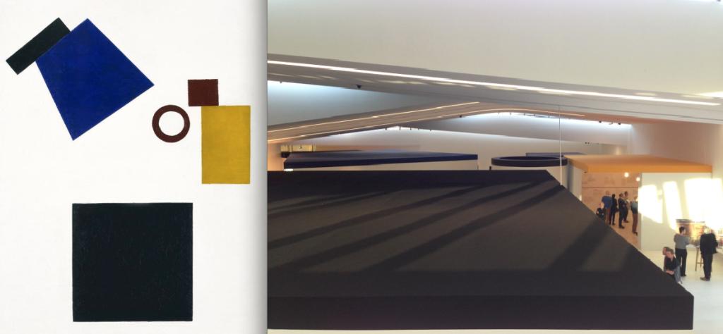 Suprematisme: zelfportret in twee dimensies (Stedelijk Museum) en tentoonstellingsopstelling Drents Museum)