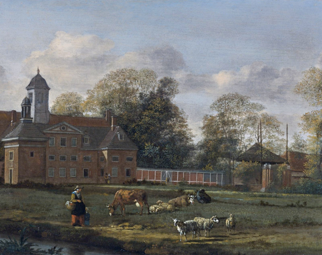 View of Goudestein with a woman and a child walking beside a dyke