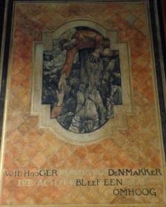 """De socialistische gedacht in optima forma: """"Wie hoger klom helpe den makker die achterbleef een stap omhoog"""". Detail wandschildering Richard Roland Holst"""
