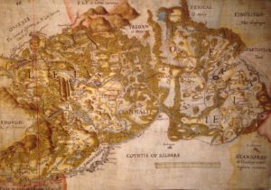 Kaart van de graafschappen Laois en Offaly uit c. 1563. De kaart geeft een uniek beeld van de regio die weinig veranderd was sinds het begin van de jaartelling