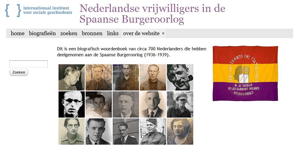 De website spanjestrijders.nl
