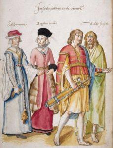 Twee Ierse vrouwen en twee 'wilde' Ieren, Corte Beschryvinghe folio 34 recto, ©British Library