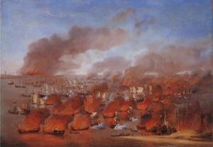 De brandende handelsvloot op het Vlie