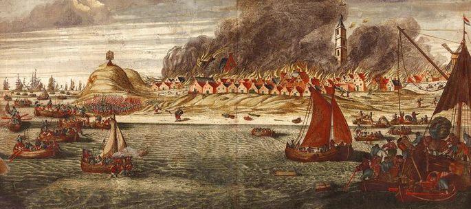 Het dorp West-Terschelling brandt op 20 augustus 1666 - De Engelse Furie