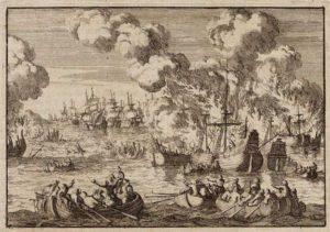 Matroze van de handelsvloot ontvluchten hun brandende schepen die voor anker liggen op het Vlie - 19 augustus 1666