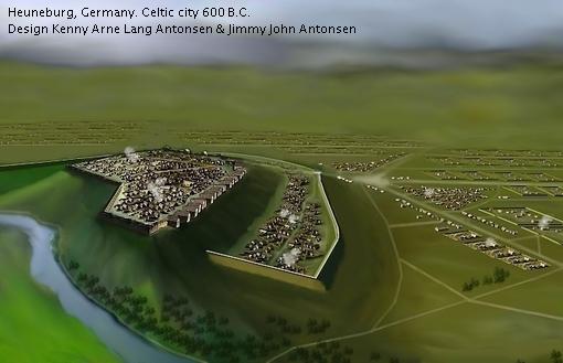 Artist impression van de Heuneburg met onderstad en omliggende nederzetting