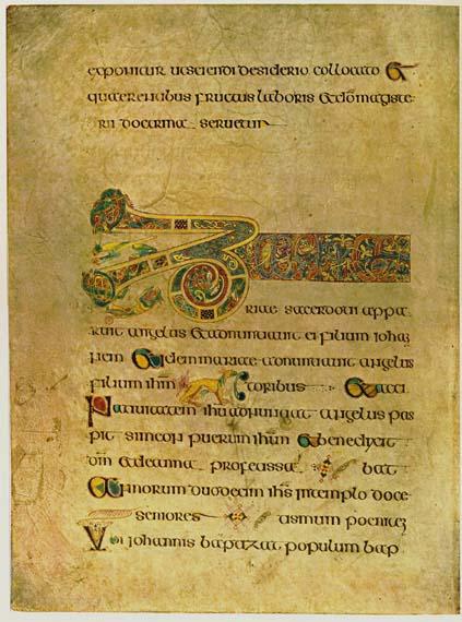 Folium 19r van het Boek van Kells, met het begin van de Breves causae van Lucas.